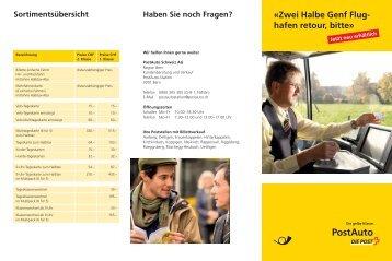Zwei Halbe Genf Flughafen retour, bitte - Postauto