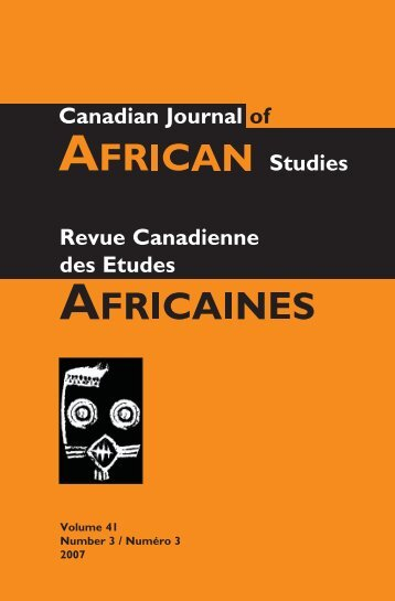 Canadian Journal of African Studies - Faculty of Arts