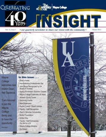 Insight - Winter 2012 (PDF) - The University of Akron : Wayne College