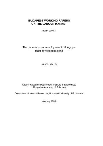 BUDAPEST WORKING PAPERS ON THE LABOUR MARKET - MEK