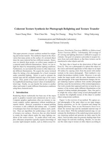 Coherent Texture Synthesis for Photograph Relighting and Texture ...