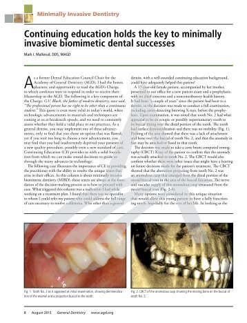 Continuing education holds the key to minimally invasive biomimetic ...