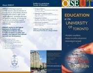 About the Faculty of Education at the University of Toronto