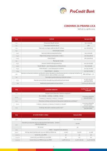 cenovnik za pravna lica 2012-03-26.indd - ProCredit Bank