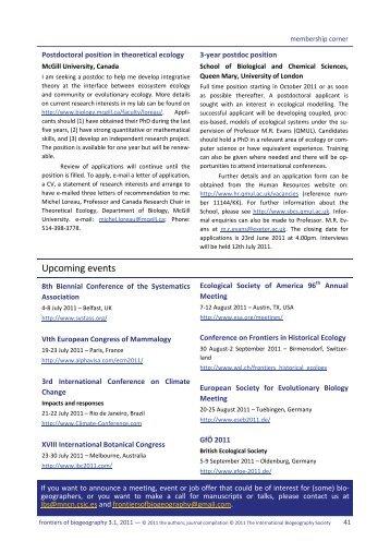 Upcoming meetings - The International Biogeography Society