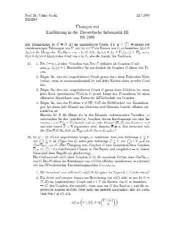 Prof. Dr. Volker Strehl 22.7.1999 IMMD-8 AUbungen zur ...