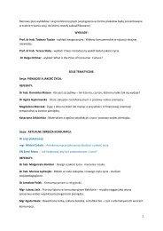 Ramowy plan wykładów i sesji konferencyjnych (wystąpienia w ...