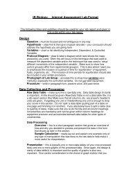 IB Biology Internal Assessment Lab Format Design Data Collection ...