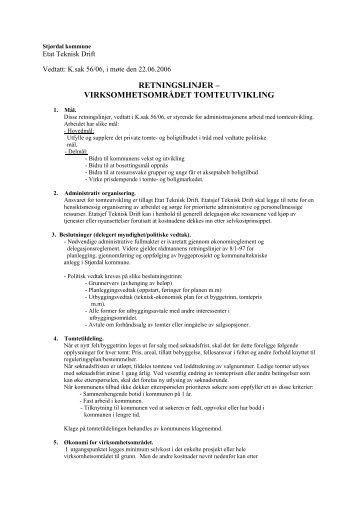 retningslinjer – virksomhetsområdet tomteutvikling - Stjørdal kommune