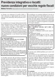 Previdenza integrativa e riscatti: nuove condizioni ... - UILA Potenza