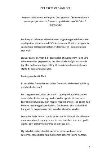 Download og læs hele forsvarsminister Nick Hækkerups tale ved ...
