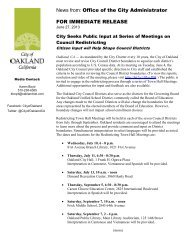 News from: Office of the City Administrator FOR ... - City of Oakland