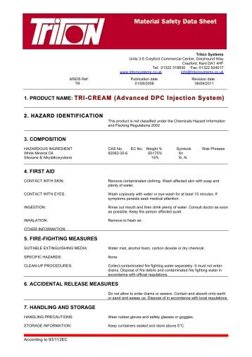 Tri-Cream Material Safety Data Sheet Download - Triton Chemicals