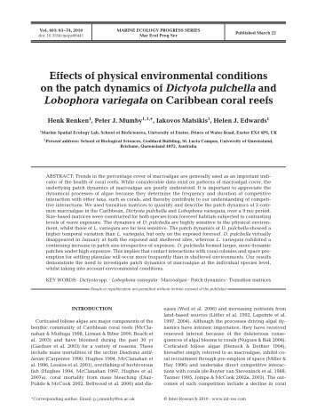 Effects of physical environmental conditions on the patch dynamics ...