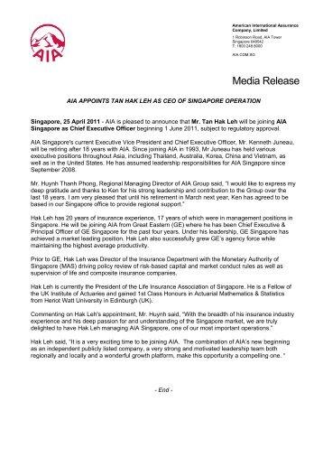 Media Release - AIA Singapore