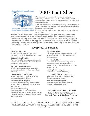 2007 Fact Sheet - Eastside Domestic Violence Program