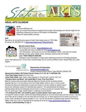 VISUAL ARTS CALENDAR - City Of Ventura