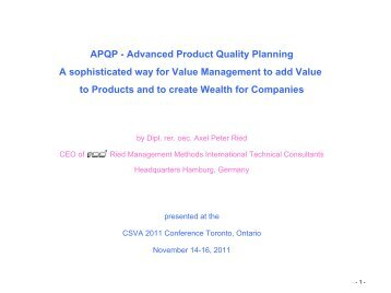 Advanced Product Quality Planning A sophisticated ... - SCAV - CSVA