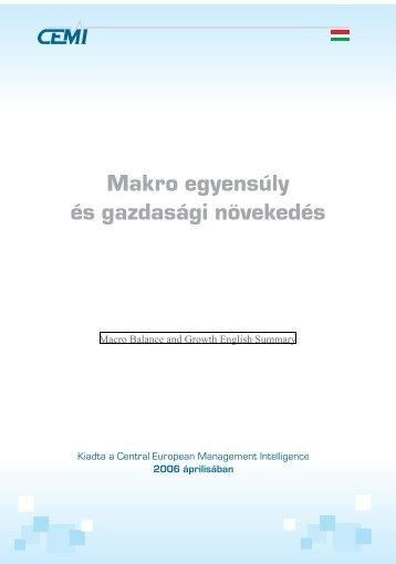Makro egyensúly és gazdasági növekedés - CEMI