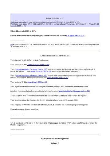 D.Lgs. 22-1-2004 n. 42 Codice dei beni culturali e del paesaggio, ai ...