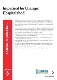 Impatient for Change: Hospital food – Which? Briefing - Magazine