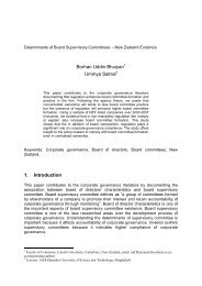 Determinants of Board Supervisory Committees – New Zealand ...