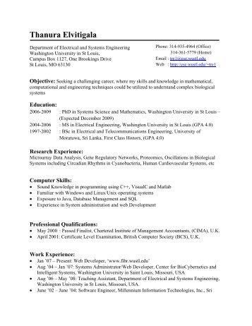 Thanura Elvitigala - Department of Biology - Washington University ...