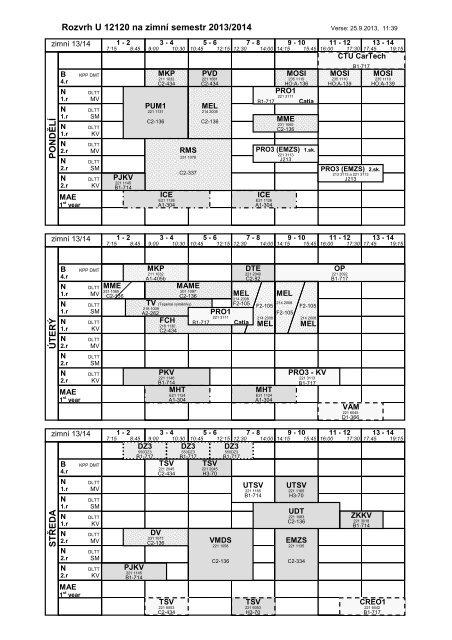 Rozvrh U12120 na zimní semestr 2013/2014