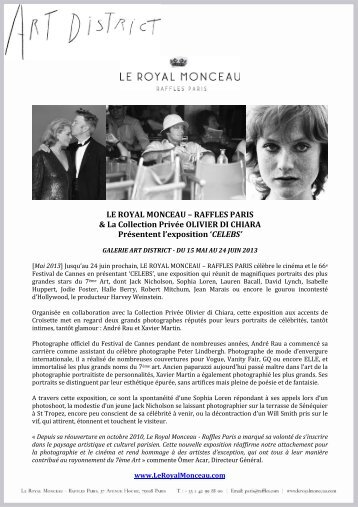Exposition CELEBS - Le Royal Monceau