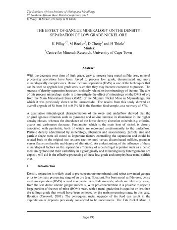 The effect of gangue mineralogy on the density separation ... - saimm