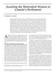 Awaiting the Watershed: Women in Canada's Parliament
