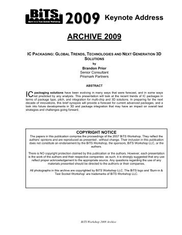 ARCHIVE 2009 IC - BiTS Workshop