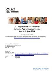 ACT Requirements for delivery of Australian Apprenticeships