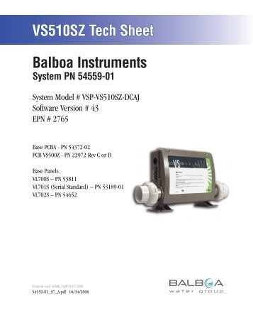 54559-01, VSP-VS510SZ-DCAJ - Balboa Direct