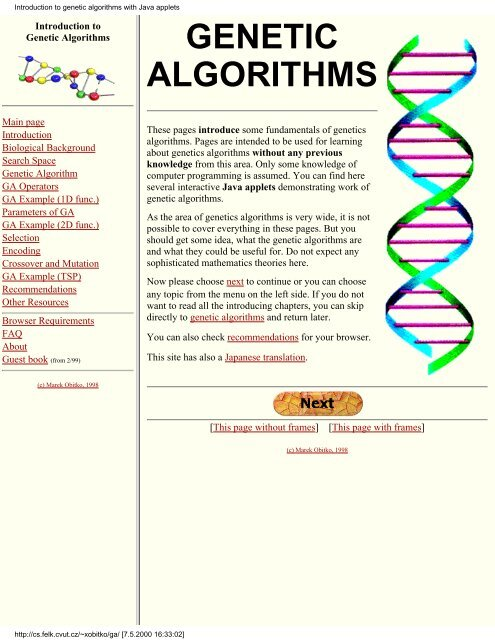 Introduction to genetic algorithms with Java applets
