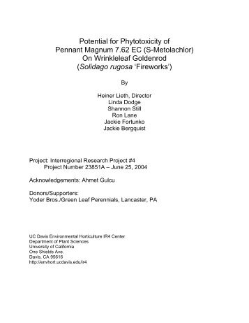 Potential for Phytotoxicity of Pennant Magnum 7.62 ... - Heiner Lieth