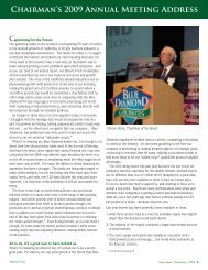 Chairman's 2009 Annual Meeting Address - Blue Diamond Growers
