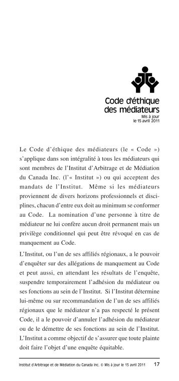 ADR MEDIATION RULES 2011 Cover french.p65 - ADR Institute of ...