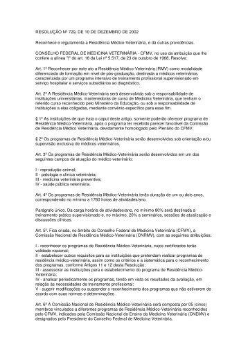 RESOLUÇÃO Nº 729, DE 10 DE DEZEMBRO DE 2002 ... - Unesp