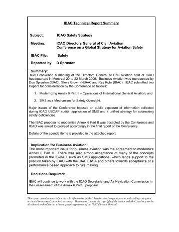 IBAC Technical Report Summary - International Business Aviation ...