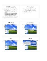 SISTEMA operativo Il Desktop Il Desktop Il Desktop Start Start