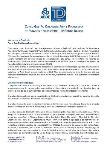 CURSO GESTÃO ORÇAMENTÁRIA E FINANCEIRA DE ... - Abde