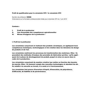 Profil de qualification pour la céramiste / le céramiste - Swissceramics