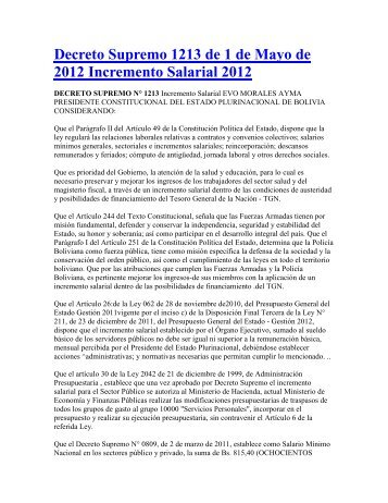 DECRETO SUPREMO 1213 Incremento salarial 2012.pdf - Cedla