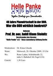 Prof. Dr. oec. habil Klaus Steinitz - DIE LINKE. Berlin