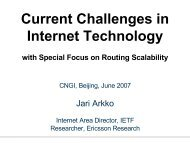 Current Challenges in Internet Technology, with Special ... - Jari Arkko
