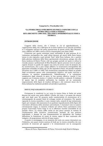 LA STORIA DEGLI STRUMENTI DI FISICA COINCIDE CON LA ...