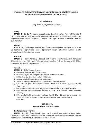 İstanbul Şehir Üniversitesi Yabancı Diller Yüksekokulu İngilizce ...