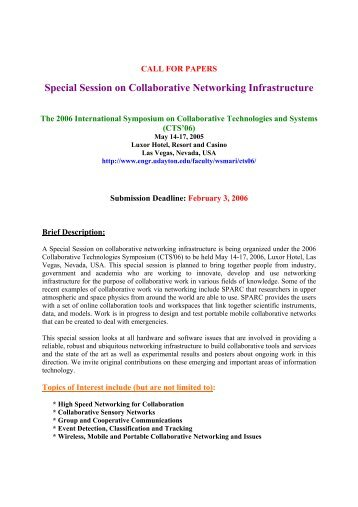 Special Session on Collaborative Networking Infrastructure