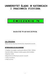 Badanie wad soczewek. - Uniwersytet Śląski